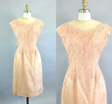 Vintage 1950s Peach Chiffon Lace A-line Rockabilly Dress with Big Bow