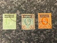 MOROCCO AGENCIES POSTAGE & REVENUE STAMPS 1907-13 SG31,34,35 FINE-USED