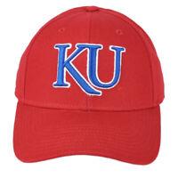 NCAA Adidas Kansas Jayhawks VH55Z Structured Hat Cap Red Adjustable Curved Bill