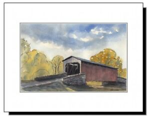 Covered Bridge in Lancaster County PA, Amish Country, Original Watercolor Print