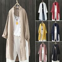 ZANZEA Femme Loisir Coton Manche Longue Loose Tops Shirt Manteaux Cardigans Plus