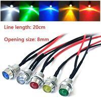 5 PCS Car Boat Indicator Light 12V 8mm LED Pilot Dash Panel Warning Single Lamps