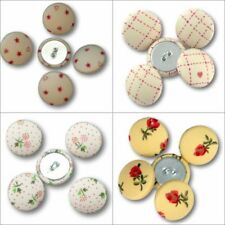 Fabric Covered Buttons - Red Cream Flowers Stars Hearts Check  - 2cm