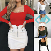 Casual Women's Long Sleeve Solid New Square-Neck Blouse Long Top Loose T-shirt1`