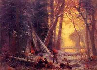 Charming landscape Oil painting Albert Bierstadt - Moose Hunters Camp in forest