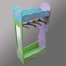 CHILDREN  FAIRY PRINCESS CLOTHING  RACK WOODEN FURNITURE WITH MIRROR & 4 HANGERS