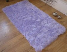 Lilac Faux Fur Sheepskin Style Oblong Rug 70 x 140cm Washable