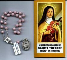 Chapelet ou Couronne de Sainte Thérèse avec notice perles plastique rose foncé