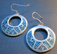 Sterling Silver Turquoise Earrings Chip Inlay Mexico Mexican 925 Dangling Taxco