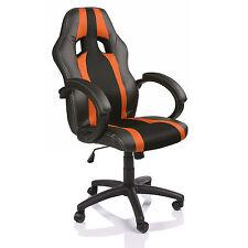 TRESKO® Sedia da ufficio girevole per casa Poltrona ufficio Sportiva Arancione