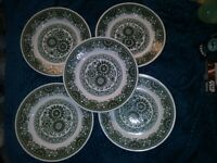 5 Vintage plates bROADHURST jADE transfer print green DINNER PLATE LOT CHINA HTF