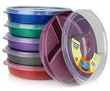 6-Set Microwave Divided Plastic Plates Vented Lids Home Office Lunch Cooking New