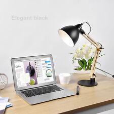 Swing Arm Wood Desk Table Lamp Integrated LED Table Light  Black Desktop Reading