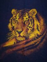 "Biederlack Tiger Print Throw Blanket Brown ~ Vintage Reversible 54""x76"" USA"