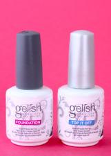 UV Gel Gelish Top Coat + Base Coat Soak-Off UK Foundation+Top it off 2 x 15ml