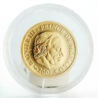 Monaco 20 euro Prince Rainier III proof gold coin 2002
