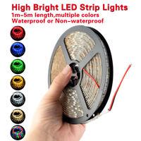 A Todo Color 1/5M 60/300LEDs 3528/5050 Viruta LED 12V Luz de Tira Flexible Rollo