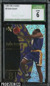 1997-98 E-X2001 #8 Kobe Bryant Los Angeles Lakers HOF CSG 6 EX-NM