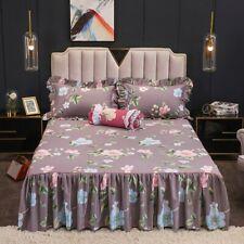 3/5Pcs Cotton Ruffles Bed Skirt Set Pillow Shams Vintage Printed Bed Sheet Set