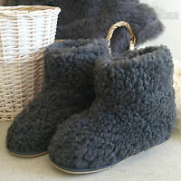 New Women Men Unisex Natural Grey Snug Sheep Wool Slippers Durable Sole Booties