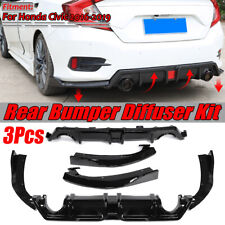 Gloss Black Rear Bumper Diffuser Lip For 2016-2019 Honda Civic 4DR Sedan