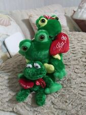 "3 Green ""Kiss Me"" Plush Green Frogs Stuffed Animal with Red Hearts"