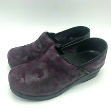 Sanita Purple Suede Clogs 36 6 US Professional Slip On Nurse Shoes