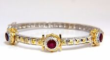 2.23 Natural Ruby Yellow Diamond Bangle Bracelet 14kt Spanish / Gothic Deco