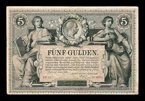 B-D-M Austria 5 Gulden / Forint 1881 Pick A154 MBC VF