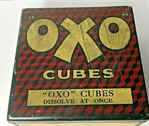 Early OXO Cubes tin with Internal lid advert 11 x 11 x 5 cm's Original