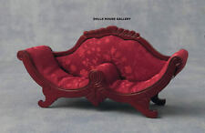 Deep Red Cushioned Mahogany Sofa, Doll House Miniature Furniture, Seating 1.12th