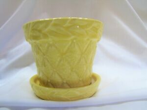 "VTG YELLOW QUILT & LEAVES MCCOY POTTERY 3 1/2"" PLANTER"