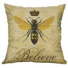 """Queen Bee Cushion Cover Natural Linen Vintage Shabby Chic Scatter 18"""" Wildliife"""
