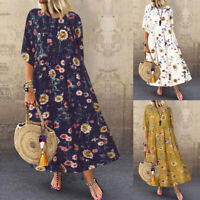 Mode Femme Belle Demi Manche Col Rond Imprimé Floral Plage Party Robe Dresse