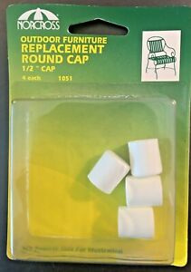4 - 1/2 inch White Outdoor Furniture Replacement Round Caps