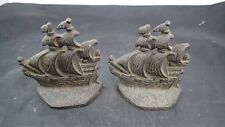 Vintage Antique Cast Iron Ship Sailboat Bookends Book Ends