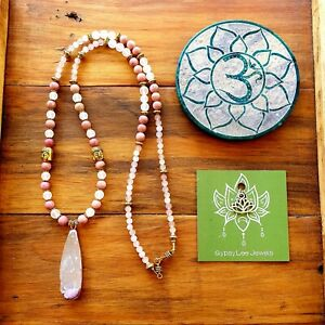 Selenite Mala Beads 108 Yoga Meditation Necklace Rose Quartz Rhodonite Gold
