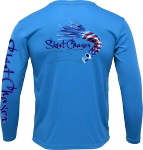 Men's Long Sleeve Royal Blue USA UPF 50+ Microfiber Performance Fishing Shirt