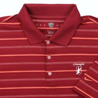 "Nike Golf Men XL 50"" Gleneagles Golf Polo Shirt Red Stripe Polyester Stretch"