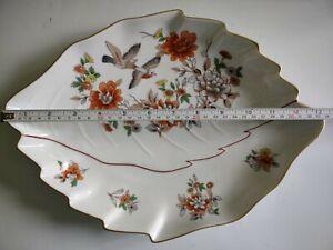 Vista Alegre Porcelain Leaf Shape Dish Magnolia Pattern 33 cm x 24 cm