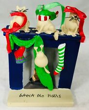 Wreck the Halls Naughty Kitties Christmas Ornament Cats in the Decorations Resin
