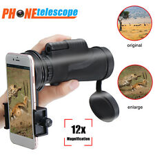Monocular 12x50 Zoom Optical Lens Camera Telescope + Tripod Clamp For Cell Phone