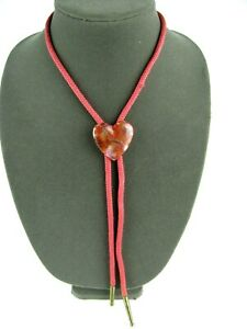 Vintage Bolo Tie With A Beautiful Red Heart Shaped Polished Stone - Rare unisex