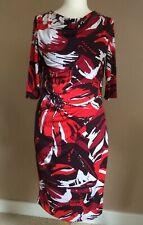 Jasper Conran Dress Size 12, With Abstract Floral Print, Flattering VGC