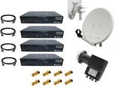 4-Teilnehmer Sat-Anlage 60cm Satspiegel 4x HDTV Sat-Receiver Quad LNB F-Stecker