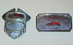 VINTAGE 1920s TRUCK DRIVER MATCHING BELT BUCKLE & HAT BADGE! METAL! RED TRUCK!