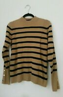 m&s womens pullover size 10 38 ladies striped jumper funnel neck sweater camel
