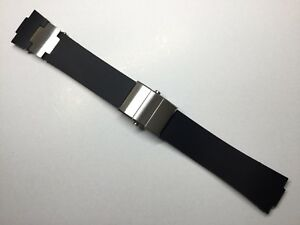 Uhrenarmband Kunststoff 25 mm Schwar für Ulysse Nardin Marine Rubber Diver strap
