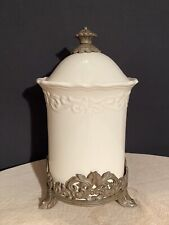 Chris Madden Canister Ivory with Metal Base & Lid 13.5""