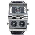 OULM Big Dial Three Time Zone Black Leather Band Men Sport Military Wrist Watch